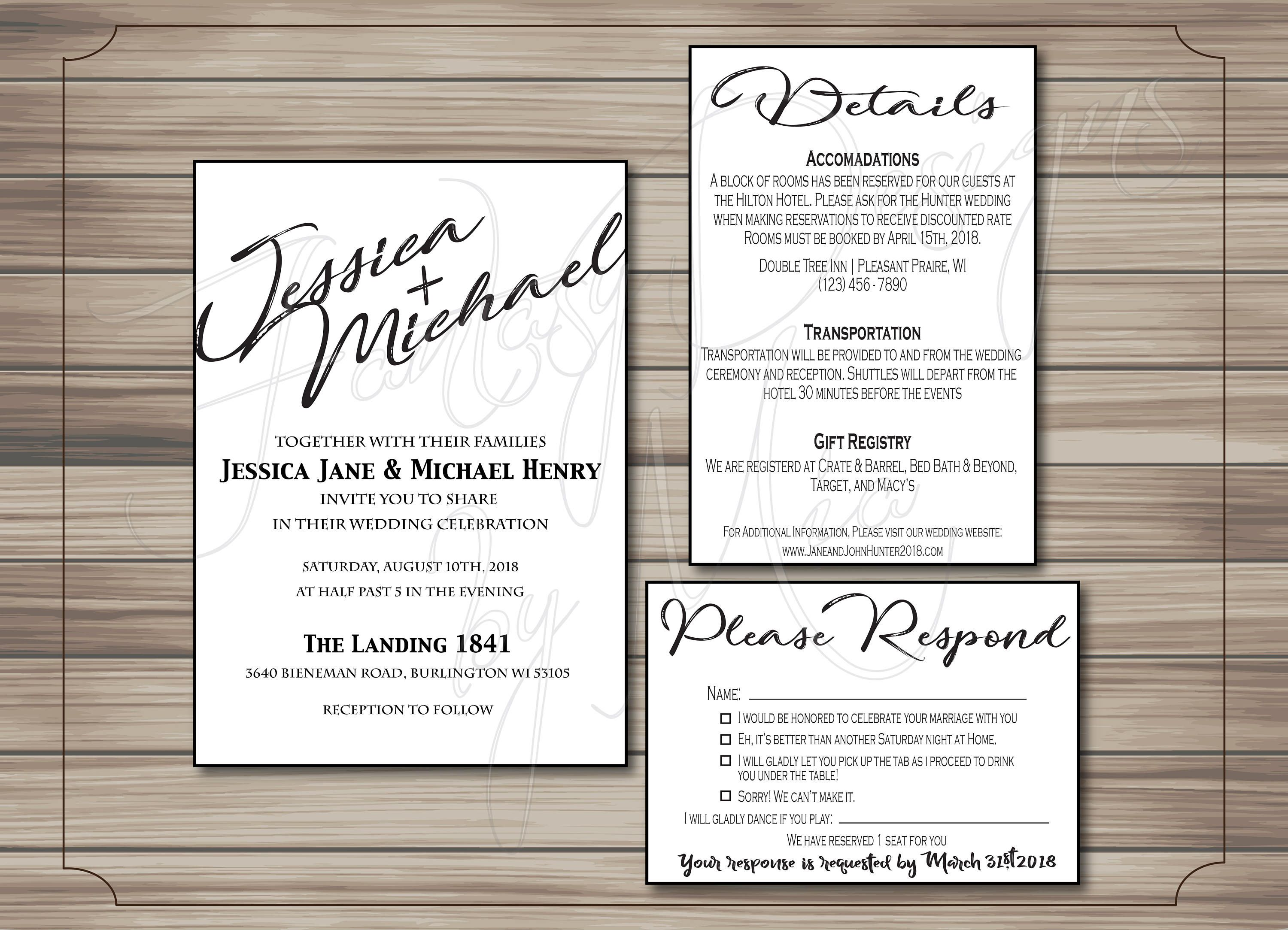 Wedding Invitation Template Printable, Wedding Invitation Set, DIY ...