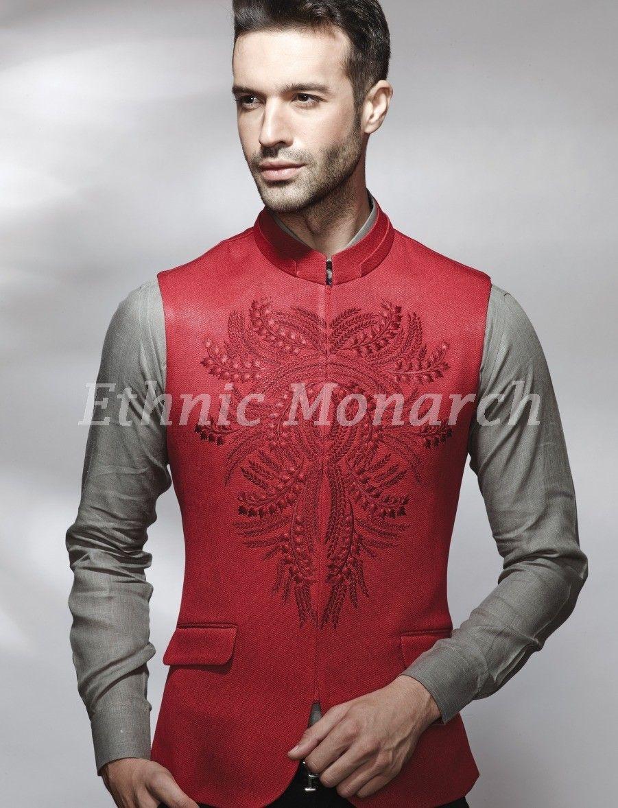 Designer Red Jacket Indian Men Fashion Nehru Jackets Nehru Jacket For Men