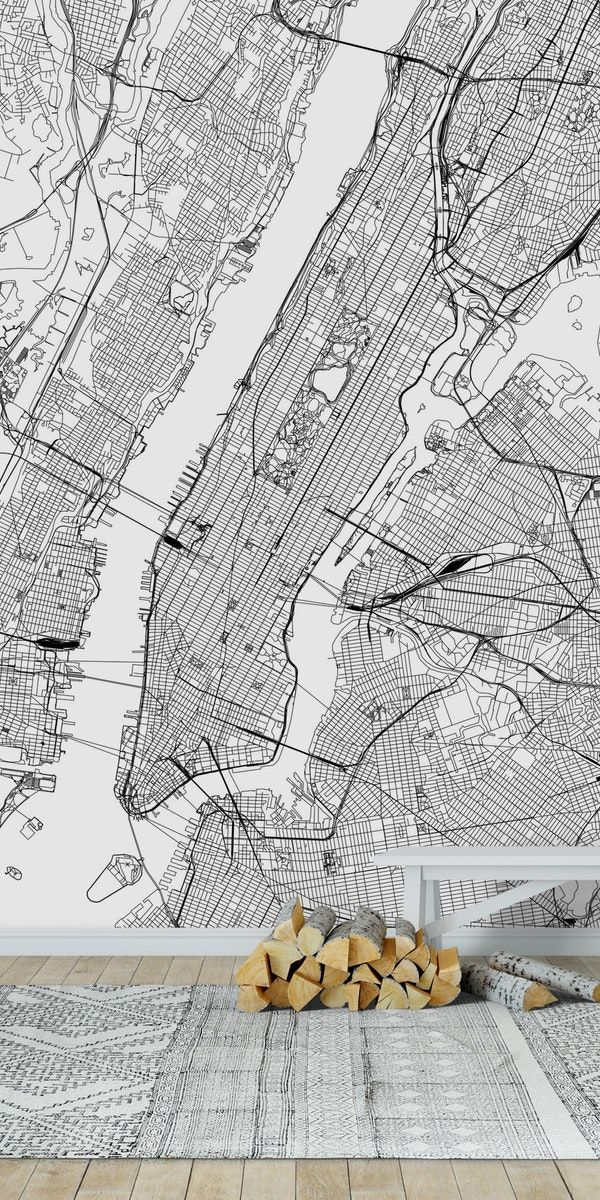 New York City White Map Wall Mural From Happywall Travel York Simple Nyc Mural Maps Modern Geometric Happywall Home Map Wall Mural Wall Murals Mural
