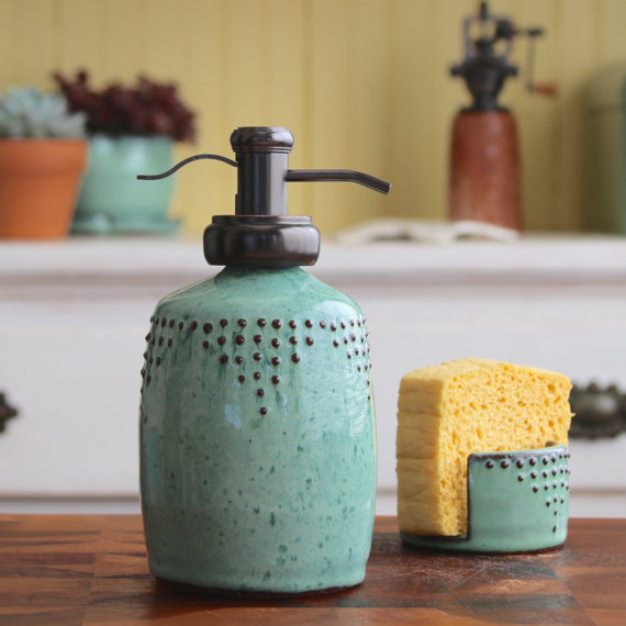 Kitchen Dish Soap Dispenser Counter Stools With Backs Bottle In Aqua Mist Lotion Or Water Well Pump Handmade Modern Ki