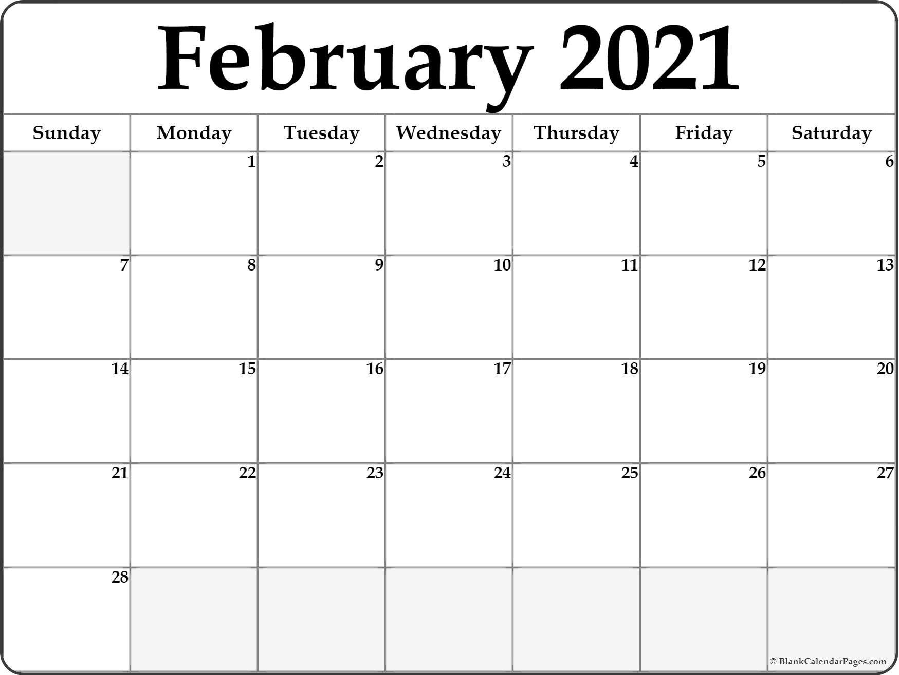 Printable Calendar For February 2021 Printable February 2021 Calendar in 2021 | Free printable calendar