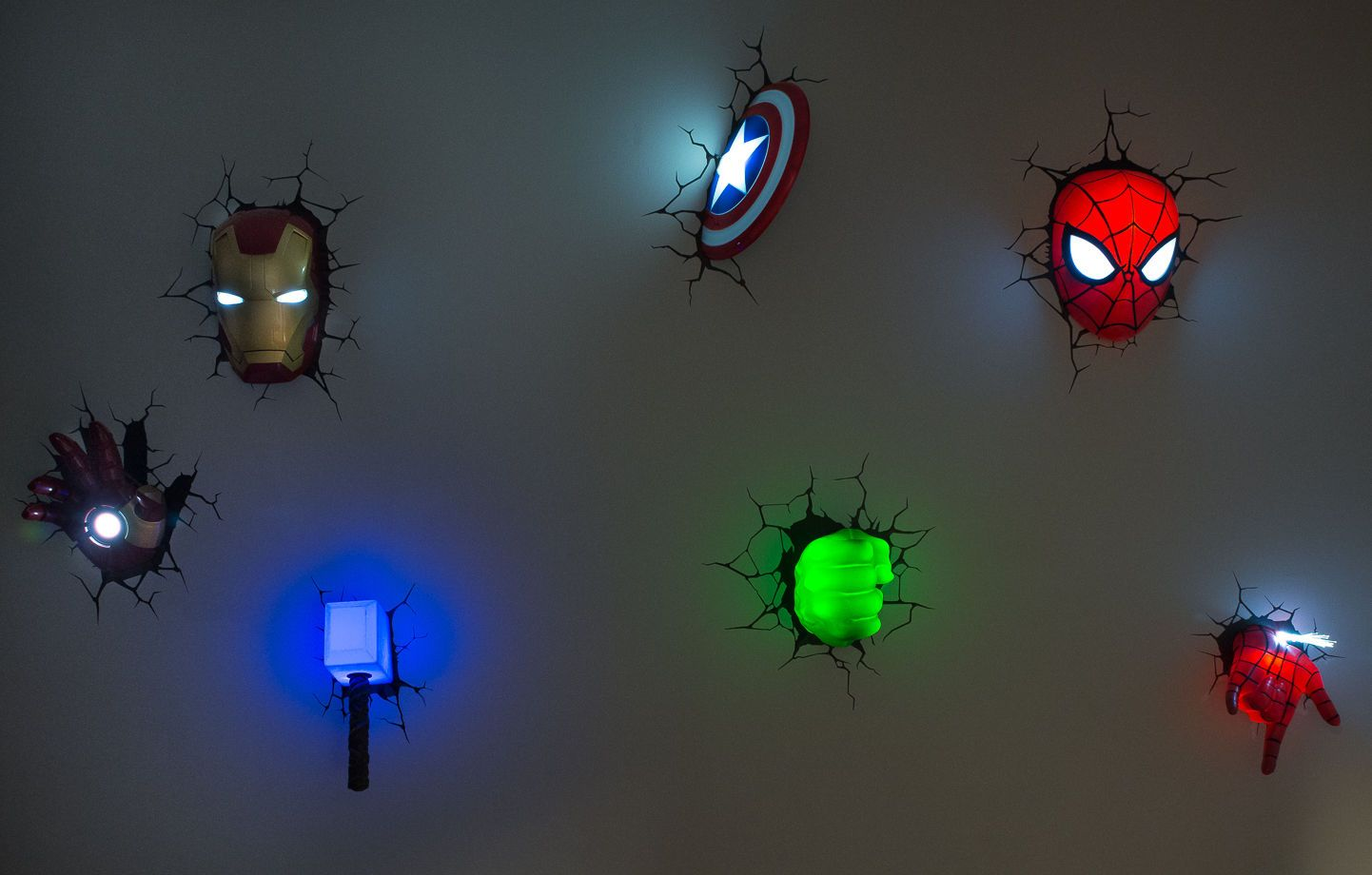 Boys Room Night Light Avengers 3d Wall Art Night Lights Bundle Iron Man Hand Lot