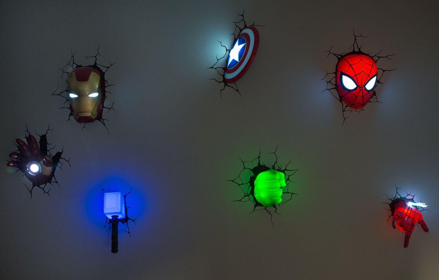 Avengers 3D Wall Art Night Lights BUNDLE + IRON MAN HAND ...