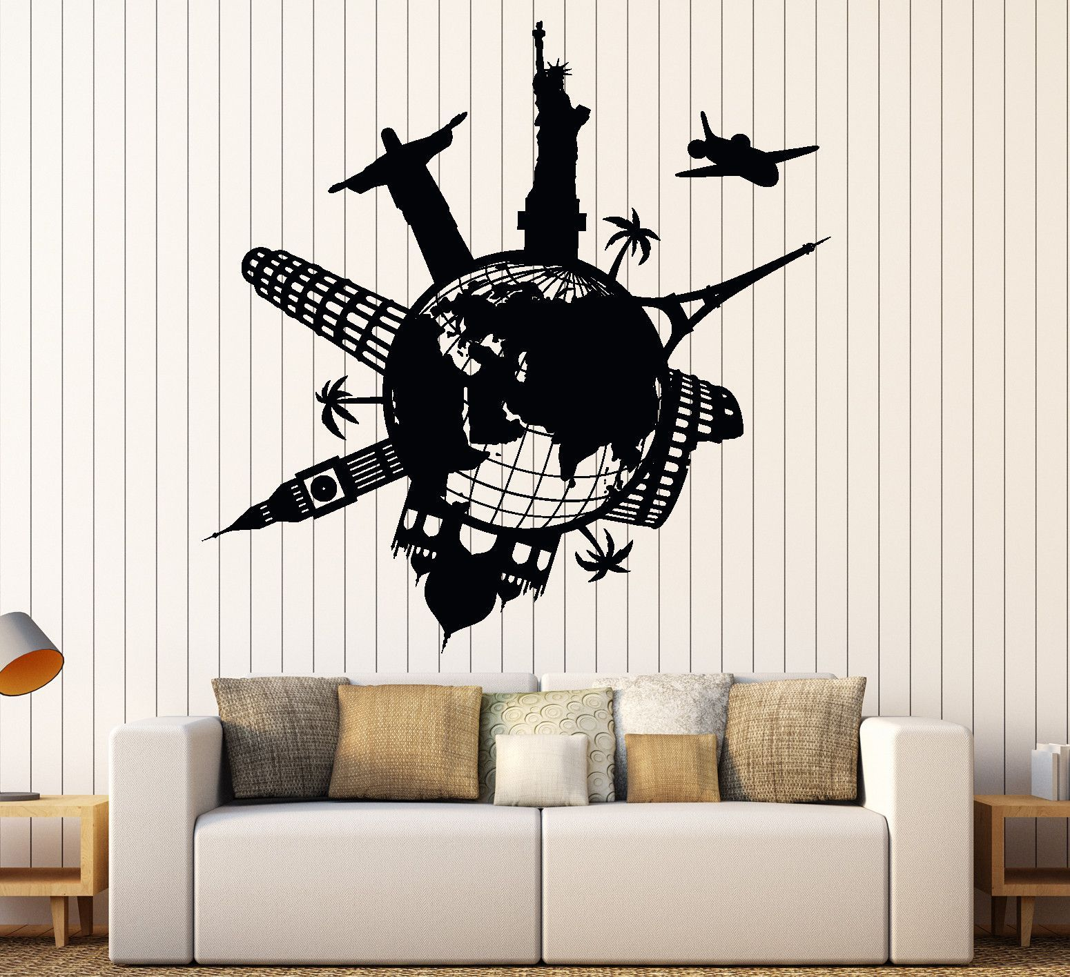 Wall Vinyl Decal Satue Of Liberty Eiffel Tower Famous Places