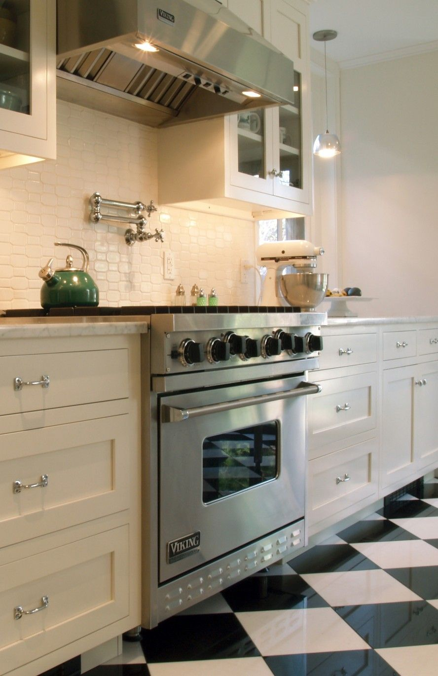 Winsome Blue Kettle Also Funky Black And White Tile Floor Design For Kitchen  Plus Stylish Cabinets