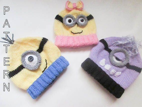 Knitting Pattern - Minion Hat PATTERN, Baby Beanie, minion hat ...