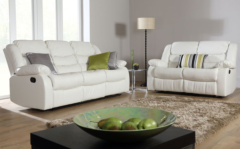 The Sorrento Leather Recliner Sofas (Ivory Cream) At Furniture Choice
