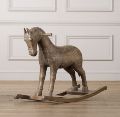 Vintage Wood Carousel Horse Accessories Restoration Hardware Baby Child