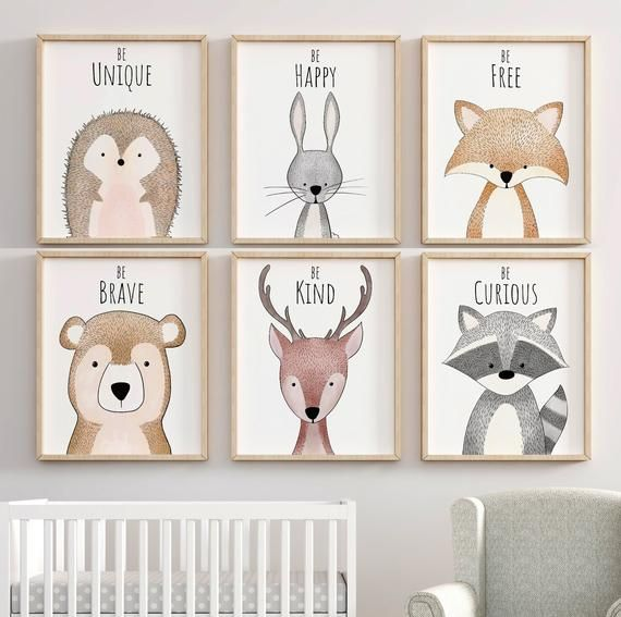 Woodland Inspirational Nursery Decor, Nursery Art, Nursery Prints, Nursery Wall Art, Woodland Animal Prints, Nursery Decor, Forest Nursery