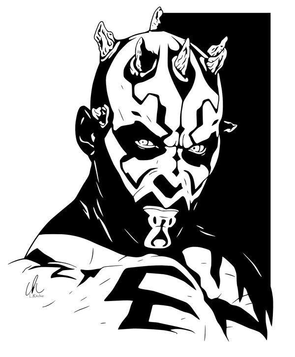 Darth Maul Star Wars Stencil Tattoo Sith Lord Comic Art
