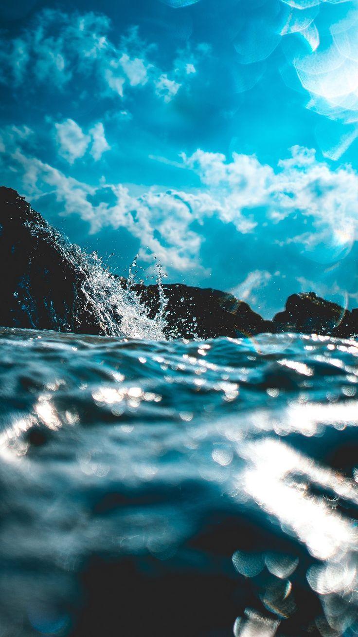 Water Spray Glare Blur Waves Sky Wallpaper Backgrounds Mypin Ocean Wallpaper Nature Photography Ocean Waves