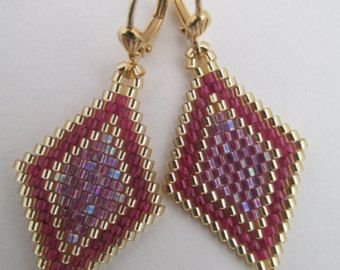 Seed Bead Diamond Shape Earrings Teal/Pink by pattimacs on Etsy