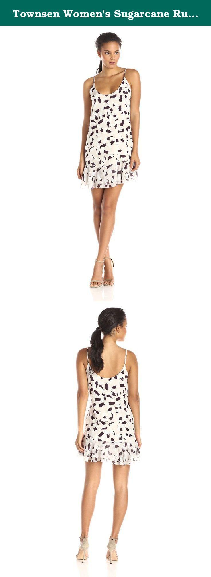 Townsen womenus sugarcane ruffled hem mini dress nude medium the