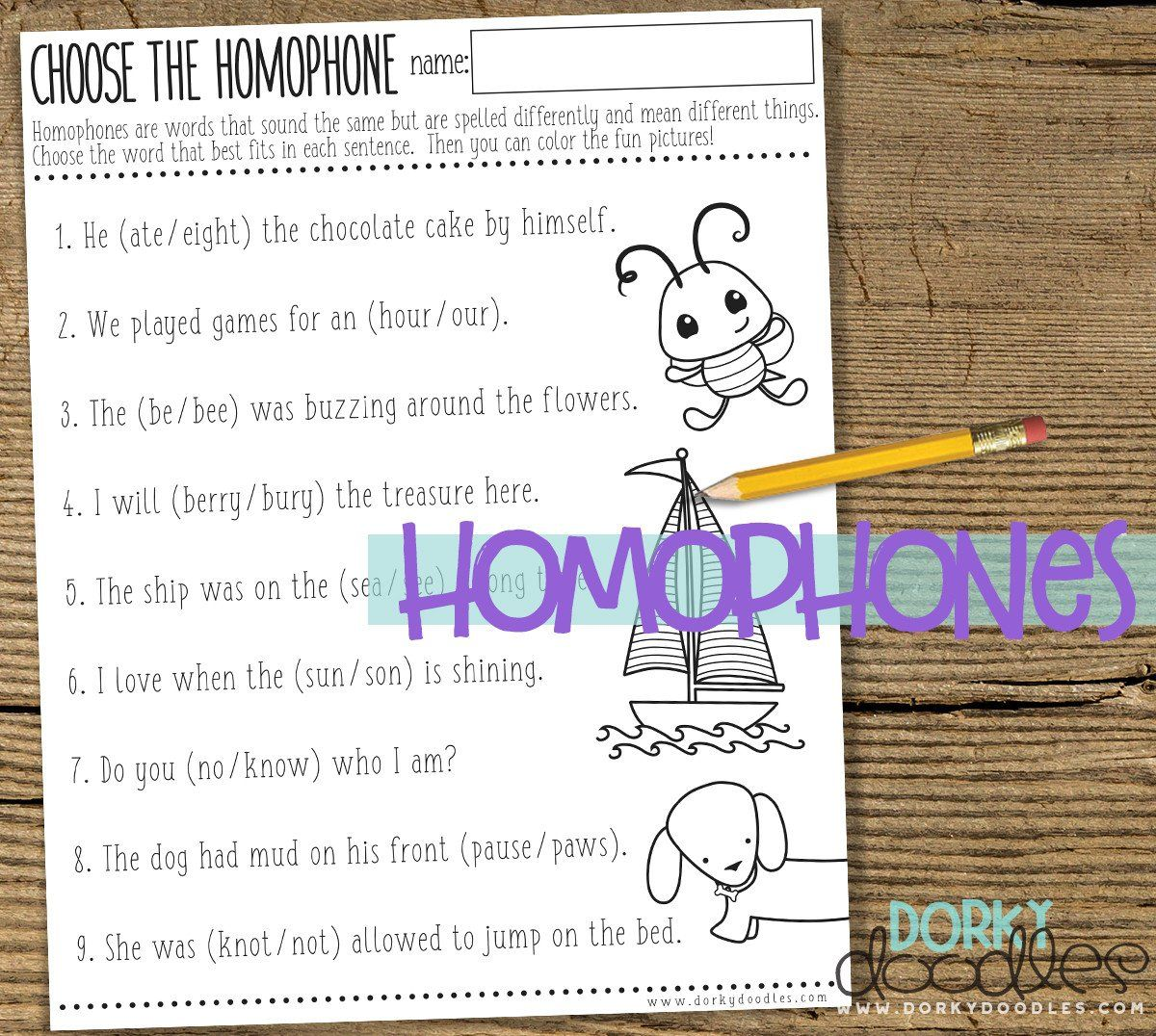 Homophones Worksheet Printable