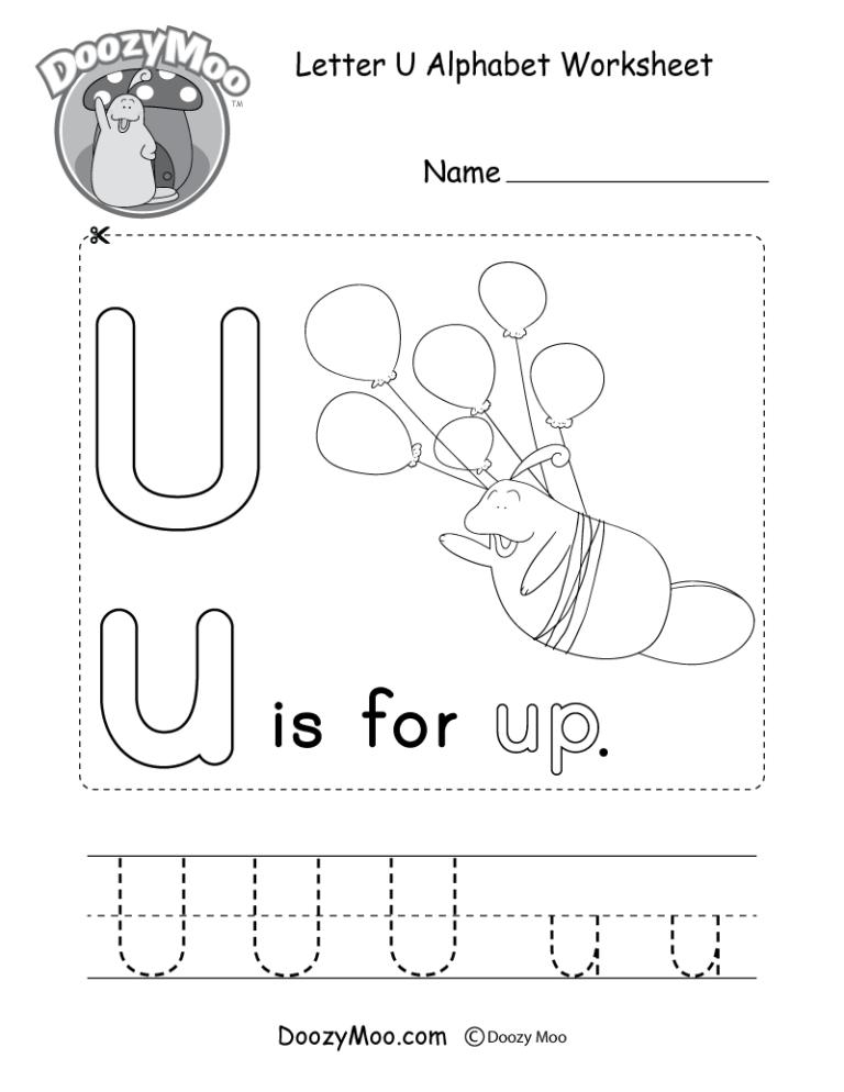Letter U Alphabet Worksheet. The letter U is for up