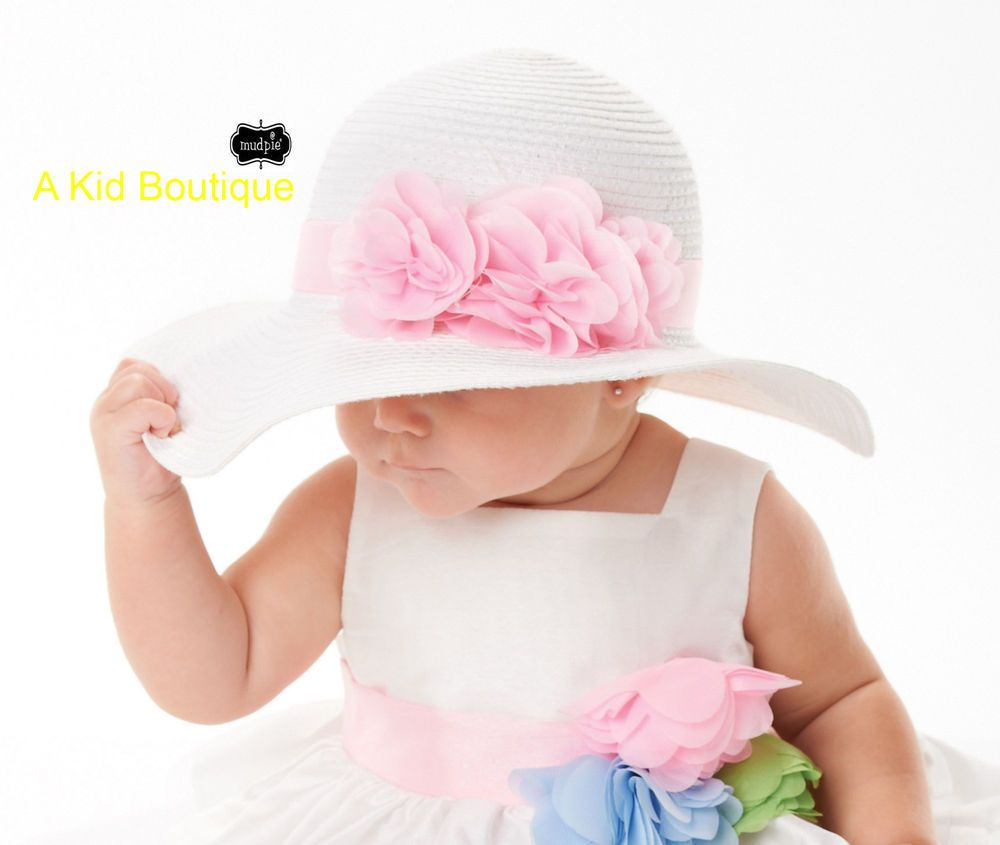 54481e37dc0e2 Mud Pie Easter Pink Rosette Flower Straw White Hat Baby Girls 0M - 4T NWT