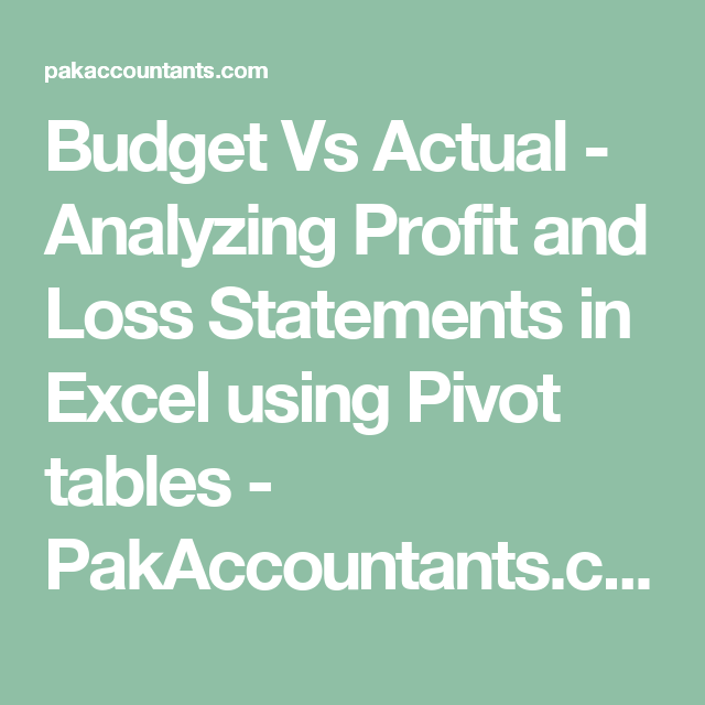 profit and loss table