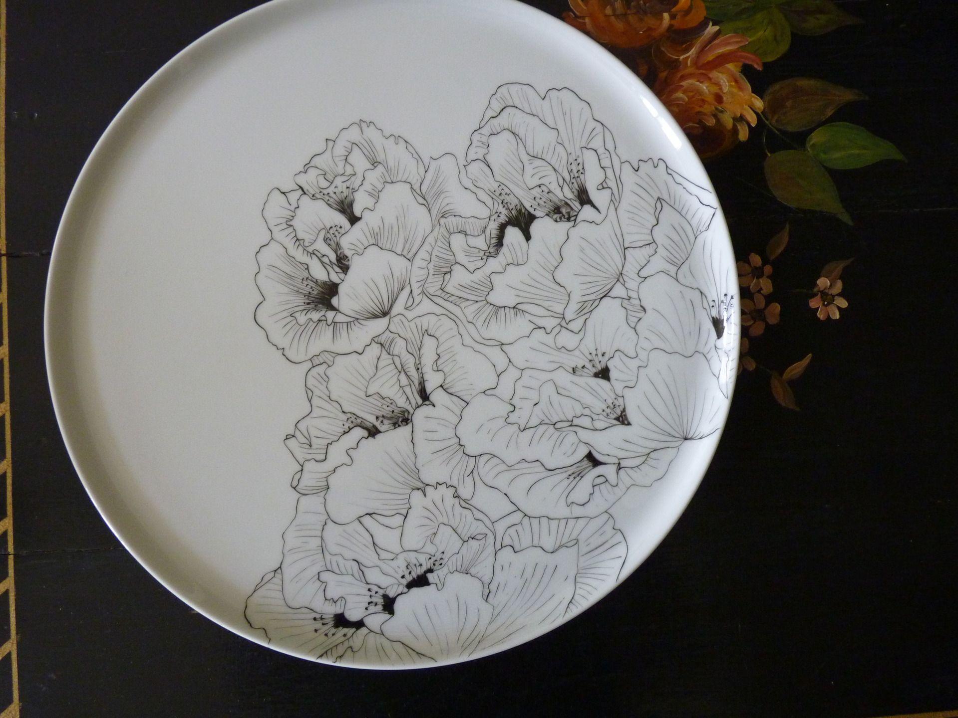 Peinture Sur Porcelaine Assiette plat à pizza en peinture sur porcelaine blanche décor main