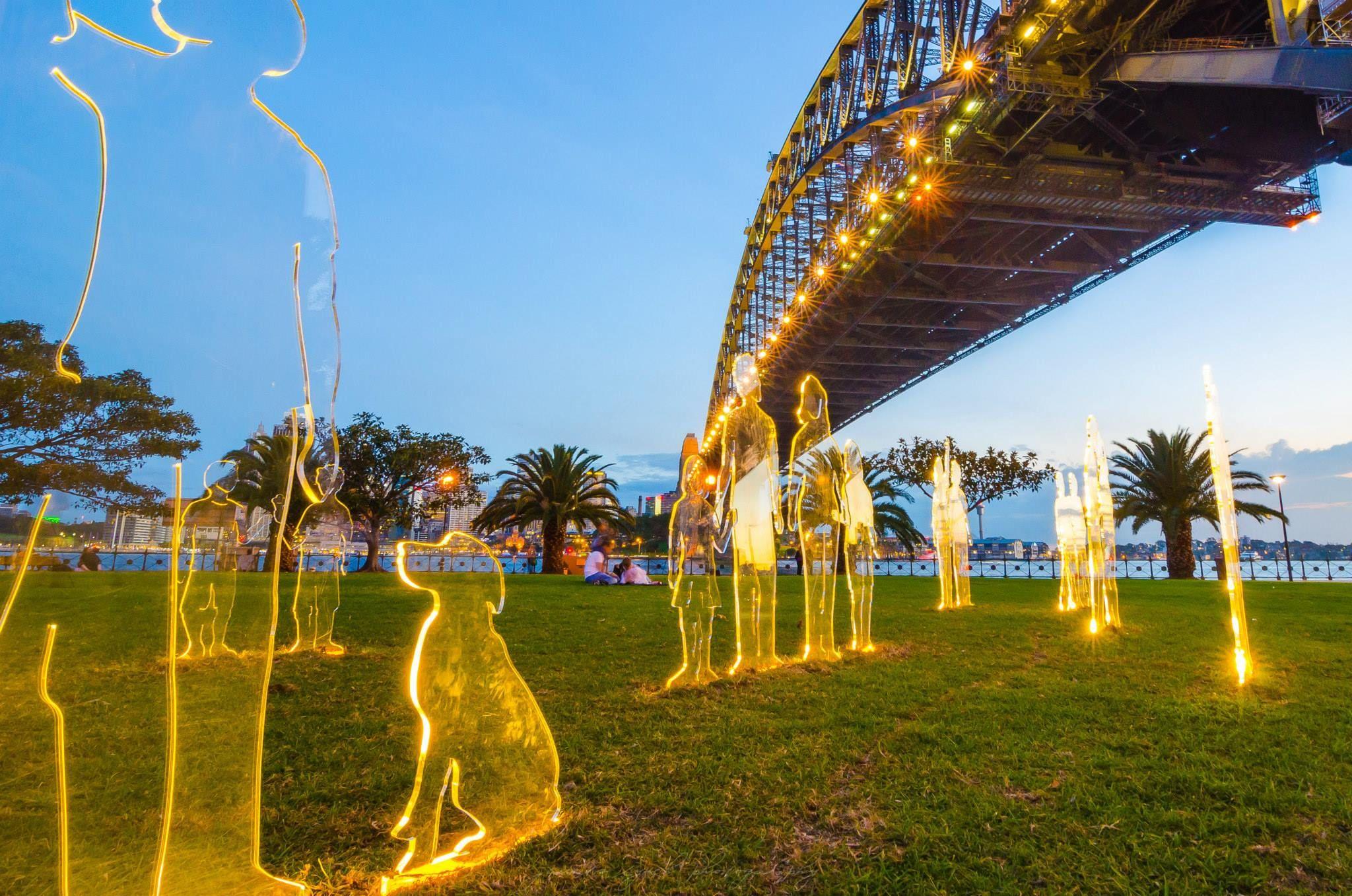 Vivid Sydney. Park under the Harbour Bridge. (there is ...