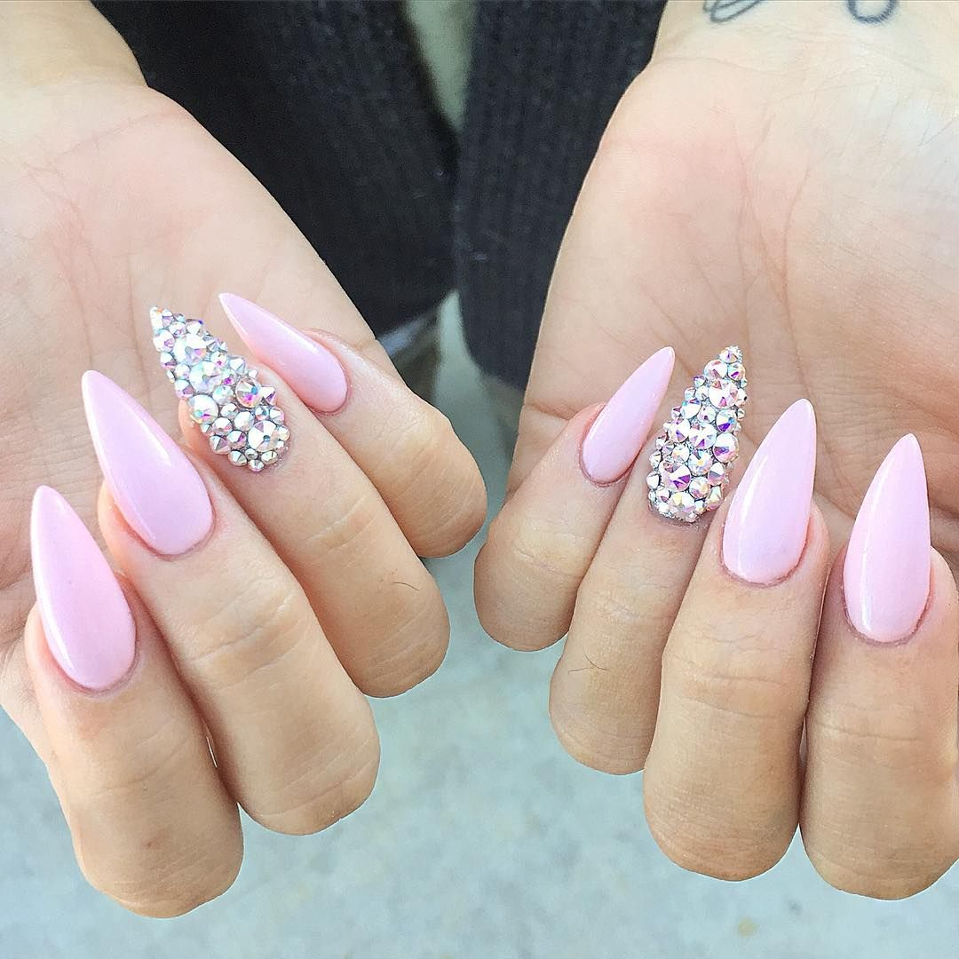 Pastel Pink Stiletto Nails With Rhinestones
