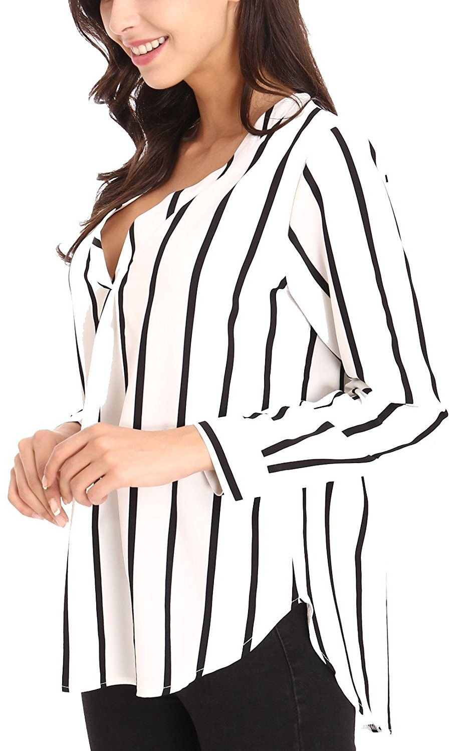 aac2c3ba522 Women's Clothing, Tops & Tees, Blouses & Button-Down Shirts,Women's Sexy Long  Sleeve Striped Shirts Loose Pullover Casual Top Blouse T-Shirt V Neck -  Black ...