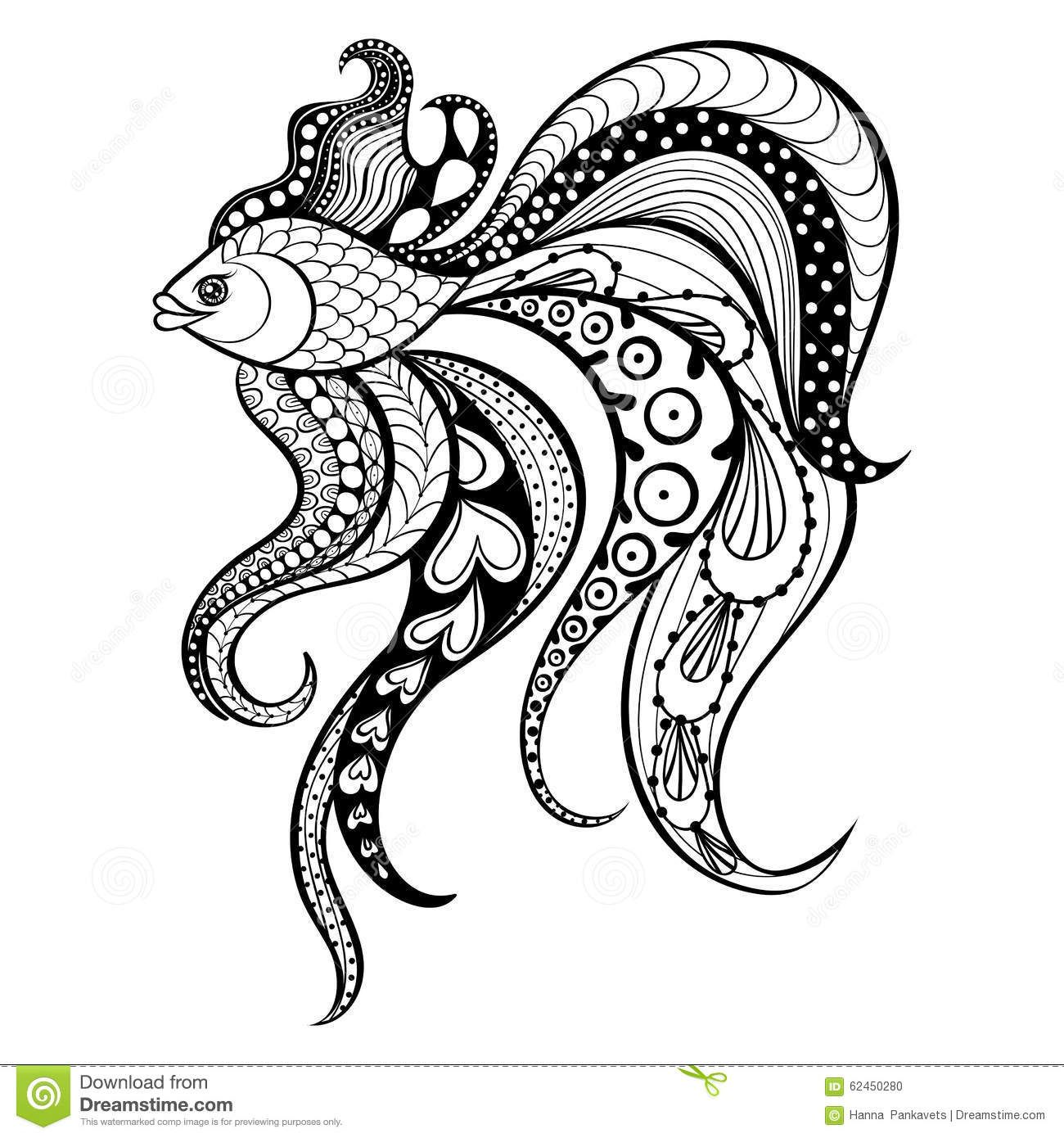 Zentangle Vector Gold Fish For Tattoo In Boho Hipster Style Or Download From