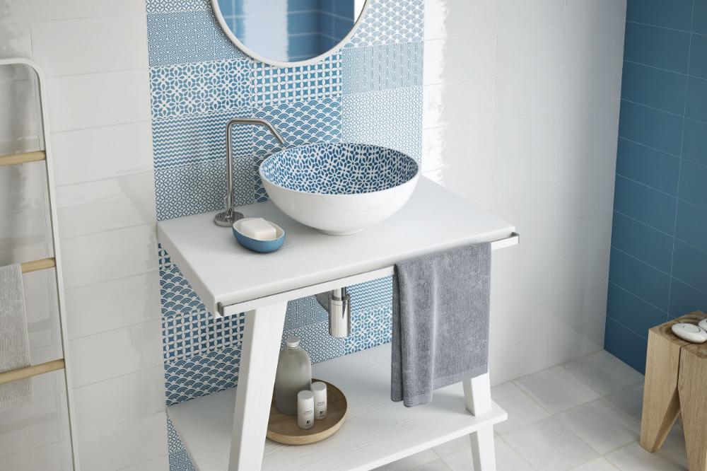 Ibiza Azul 12 5x25 Cm 4 9 X9 8 Revestimientos Ceramica Azulejos De Pared Azulejos Blancos Banos Modernos Pequenos