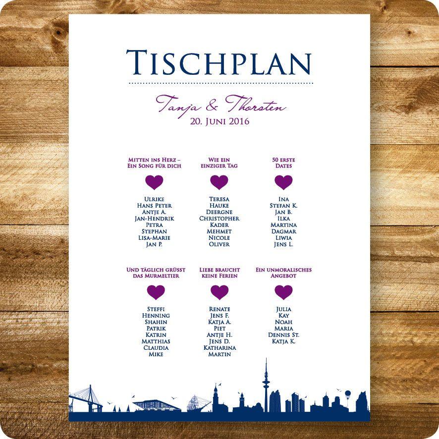 Einladungskarten · Tischplan Maritim, Hamburg, Hochzeit, Individuell  Designed By Die Kartenfrau