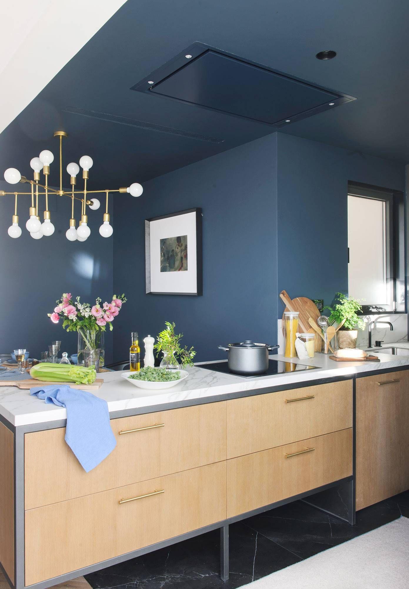 Te atreves a pintar el techo en 2019 cocinas for Cocina pintura pato azul