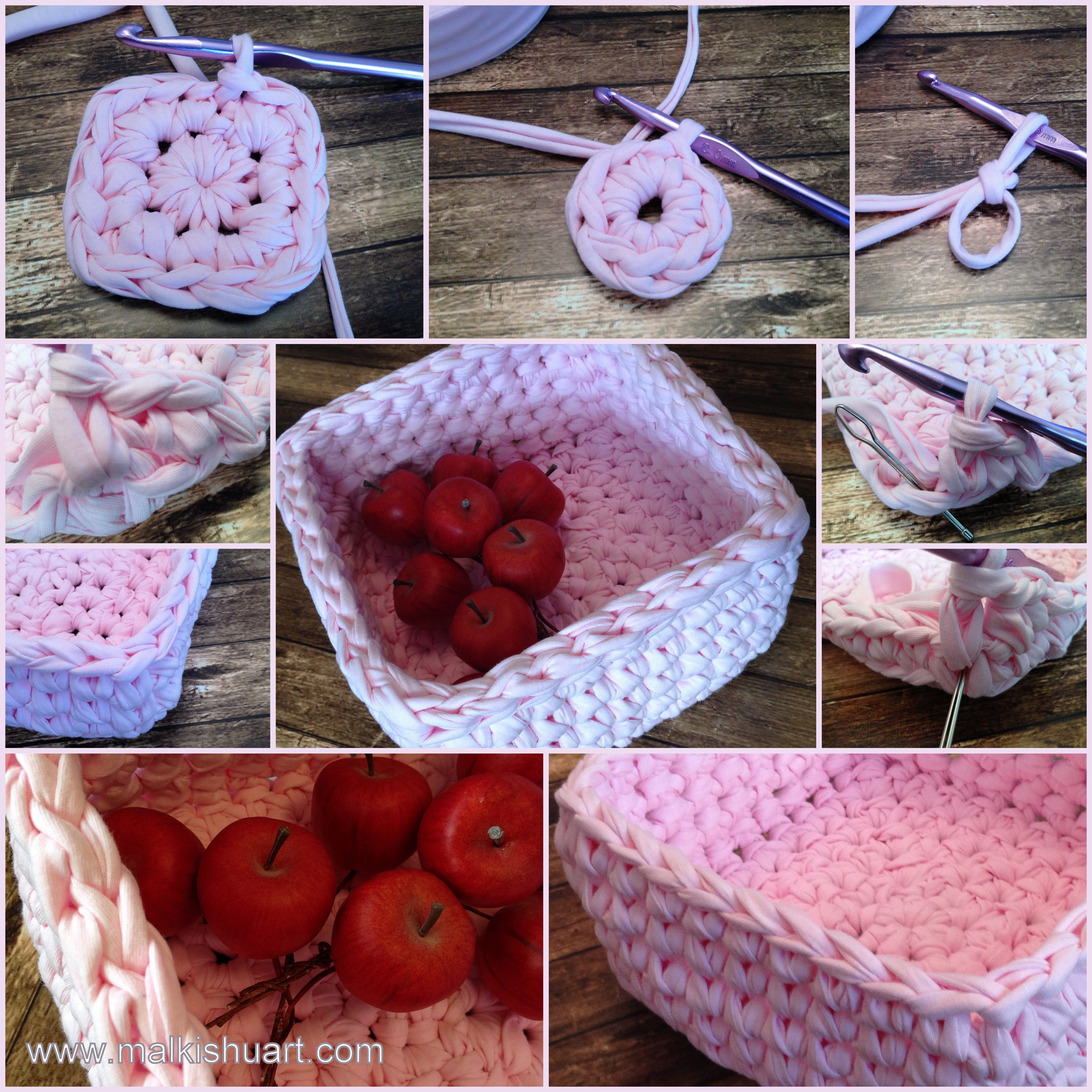 square basket tutorial , T shirt yarn, how to crochet a square ...