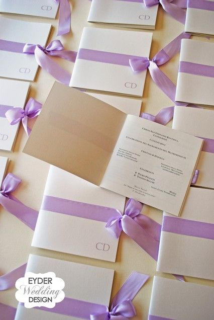 Libretto messa per cerimonia lilla Eyder Wedding Design