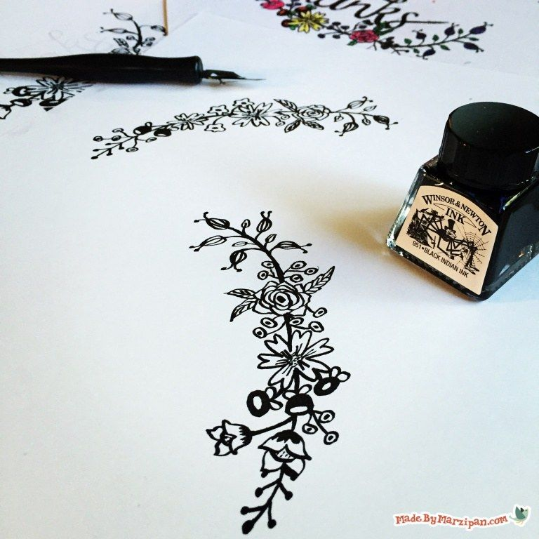 Learn How To Draw Simple Flower Borders With A Dipping Pen
