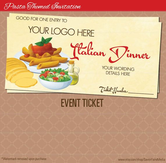 Pasta Dinner Event Ticket / Spaghetti Italian Night Dinner Poster