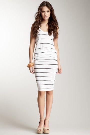 Frenzii Striped Sleeveless Ruched Drop Waist Dress by White Now on @HauteLook