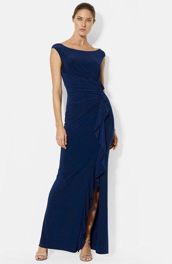 Lauren Ralph Lauren Ruffle Matte Jersey Gown Wed Mother Of The