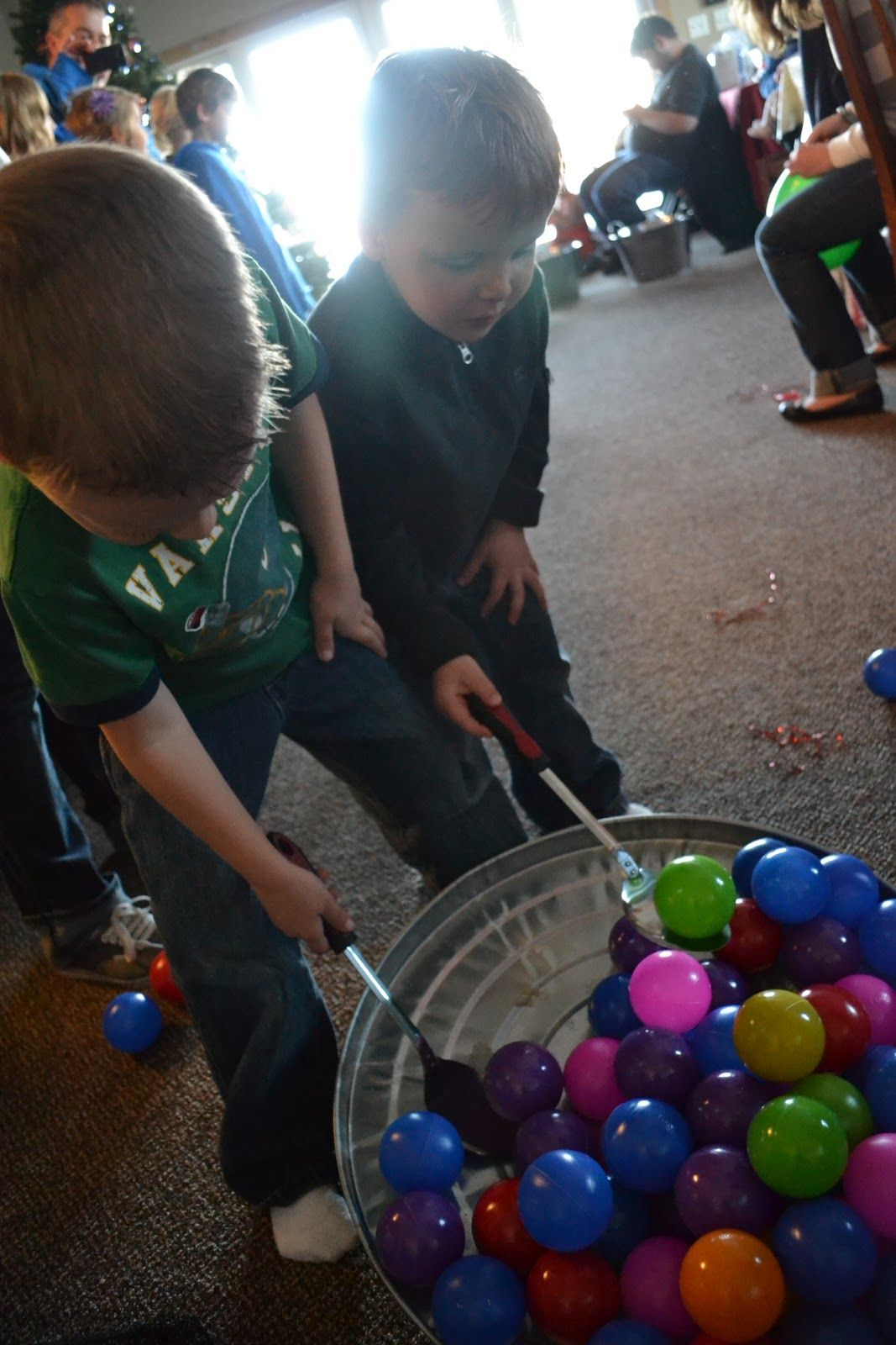 Company Christmas Party Game Ideas Part - 38: VBS Game - Balls Or Easter Eggs Scoop Up The Colored Balls From One Bucket  With Serving Spoons And Race Across The Room To Drop Them In Another Bucked