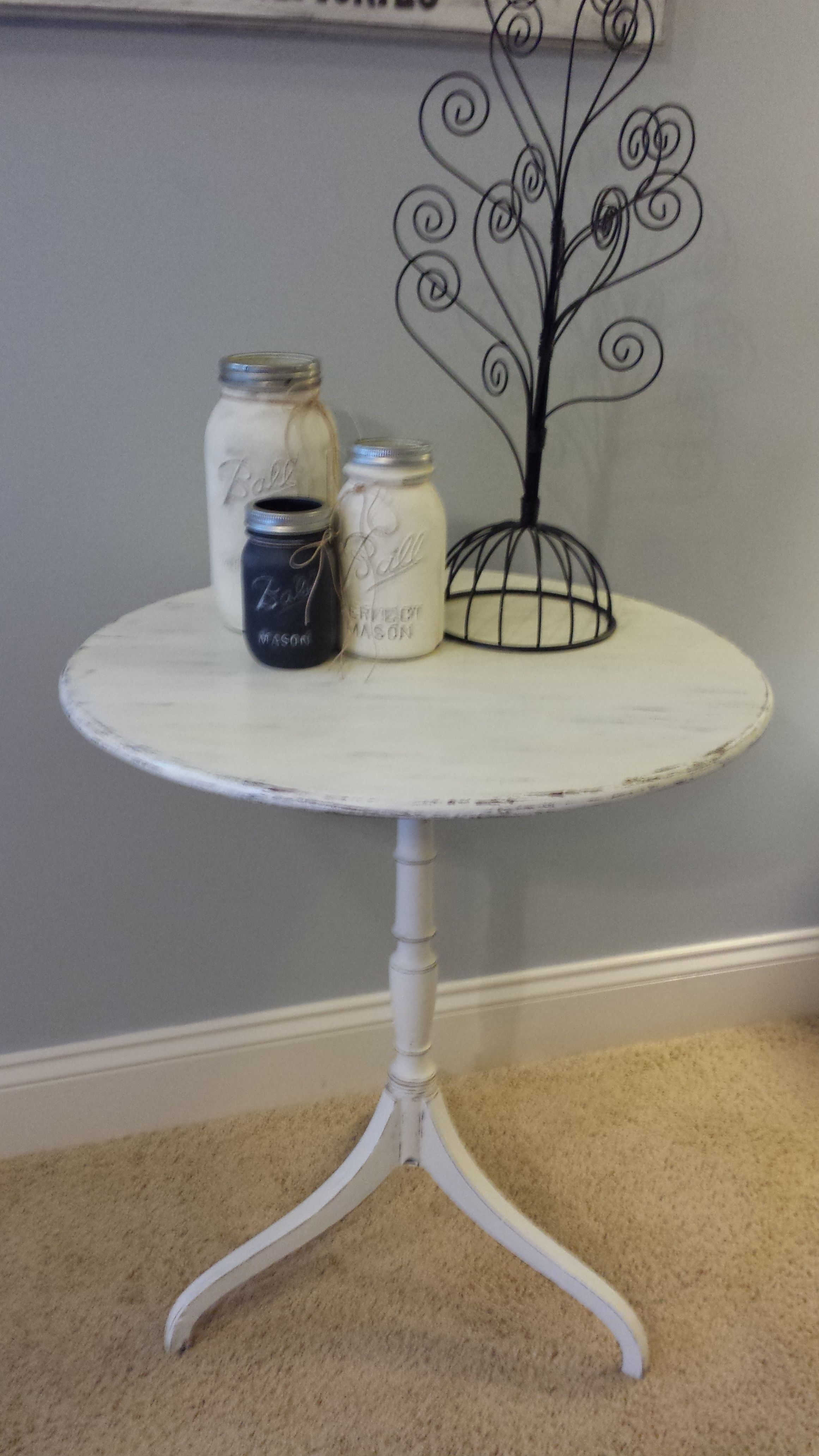 Accent Table painted Annie Sloan Old White, distressed and wax sealed