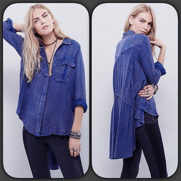 FREE PEOPLE Button Down Boyfriend High Low Top Super easy and effortless, this oversized buttondown features two bust pockets and hidden button closures. High low hem with an adjustable tie in back.  Size XS can also fit S Free People Tops Button Down Shirts