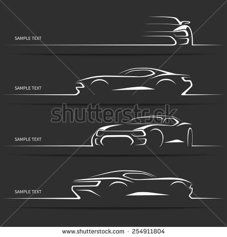Set Of Modern Car Silhouettes Sports Car In Three Angles Vector