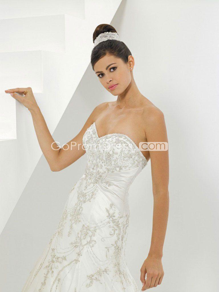 a-line sweetheart applique Beading zipper back wedding dress - gopromdres.com
