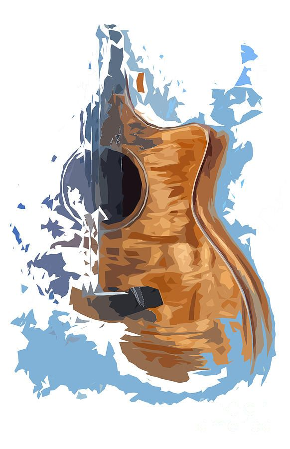 Acoustic Guitar Blue Background 4 by Drawspots Ill