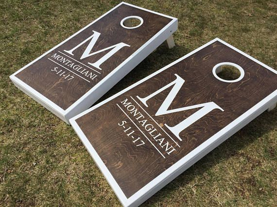 8 ACA Regulation Bags Rustic Established Date Custom Personalized Family Name Stained Cornhole Boards Regulation Size Game Set Baggo Bean Bag Toss