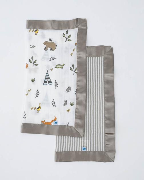 Cotton Muslin Security Blankets - Forest Friends + Grey Stripe #littleunicorn