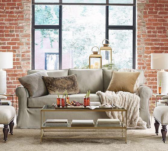 Buchanan roll arm slipcovered sofa collection design - Pottery barn living room furniture ...