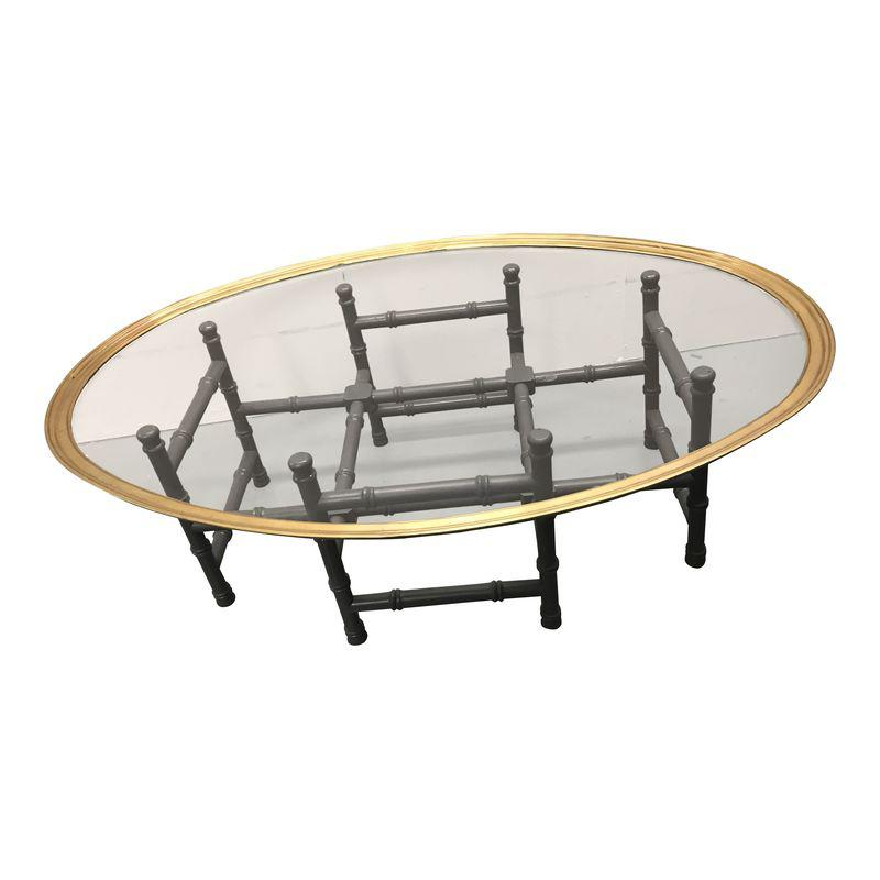 Vintage Faux Bamboo Brass Tray Top Coffee Table Faux Bamboo