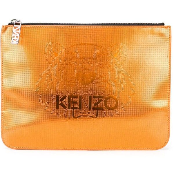 Kenzo 'Tiger' clutch ($150) ❤ liked on Polyvore featuring bags, handbags, clutches, tiger print purse, kenzo handbags, zipper handbag, orange handbags and tiger print handbags