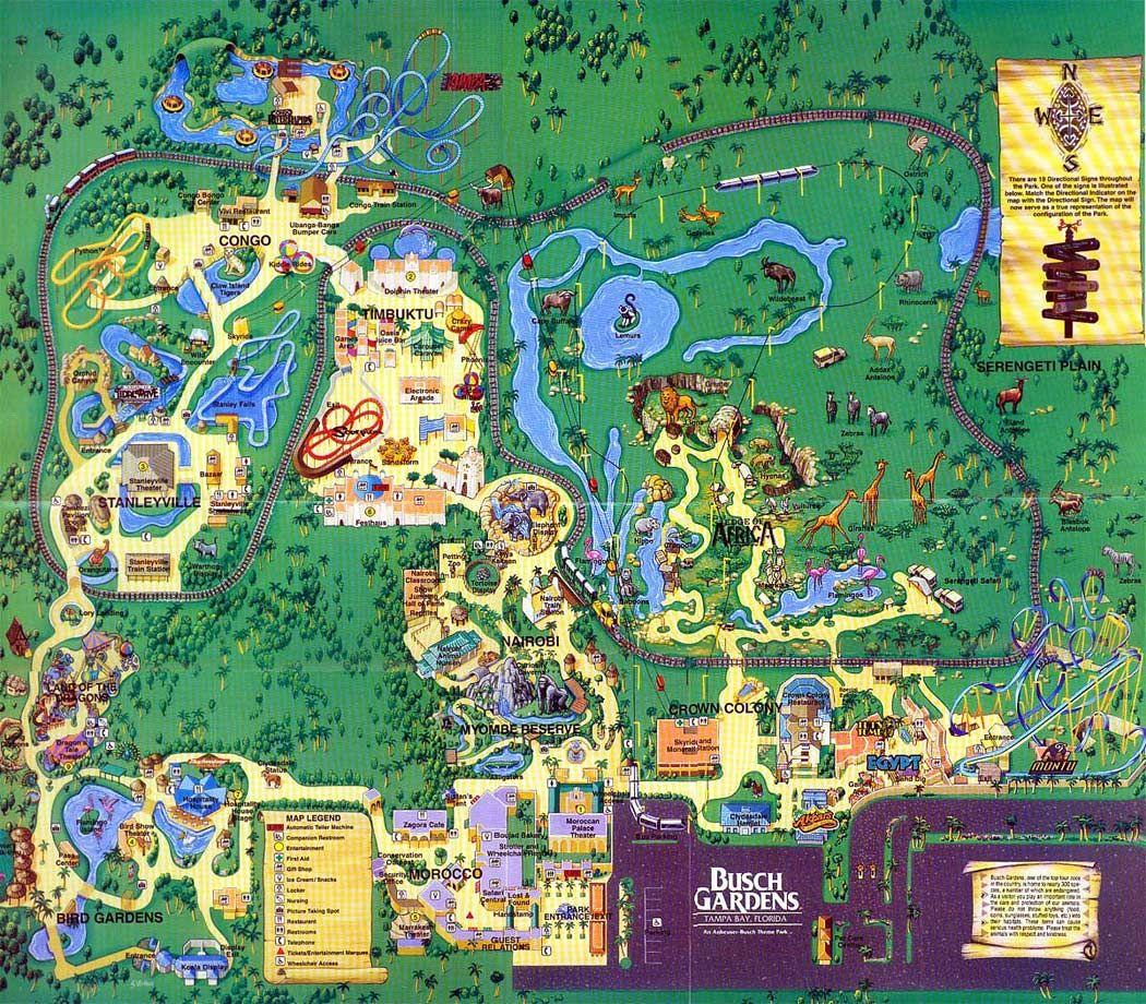 Busch gardens tampa 1999 theme park maps busch - Busch gardens florida resident pass ...