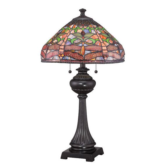 Pink Dragonfly Tiffany Table Lamp TF1571TIB  by NorthupGallery, $249.99 - for the library