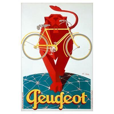 Peugeot Bicycle, Lion, Vintage Poster Poster