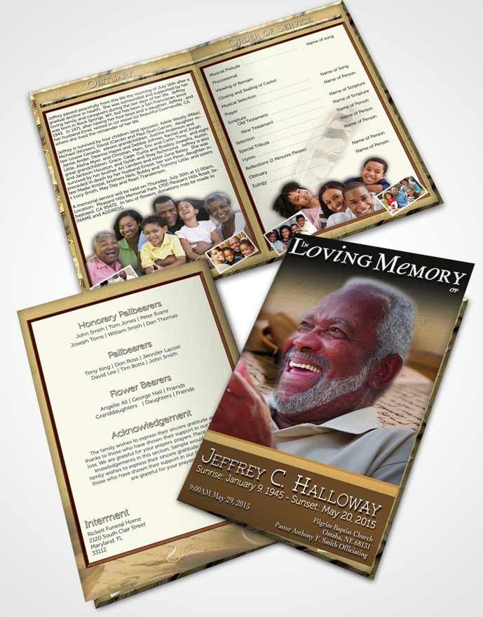 Bifold Order of Service Obituary Template Brochure Golden Writer